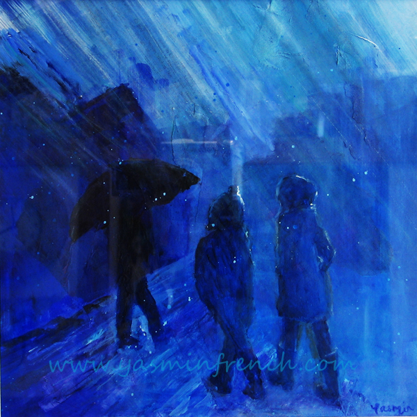 Walking in the Rain - Painted in 2013. Acrylics, framed. SOLD.