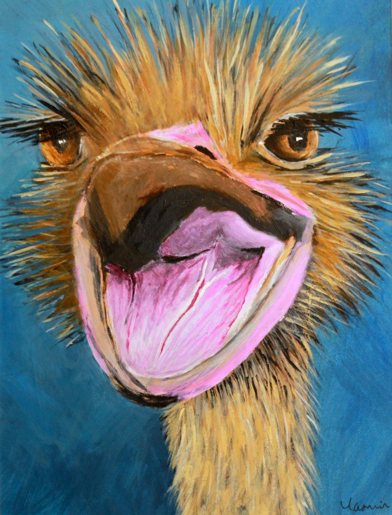 Ostrich I - Painted in 2012. Acrylics on Mountboard. SOLD