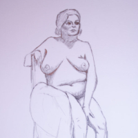 Sharon Fox Seated Nude