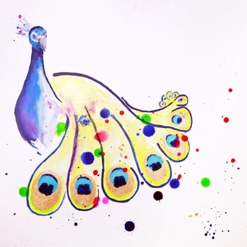 Peacock Splatter - 2018 - Acrylic Ink